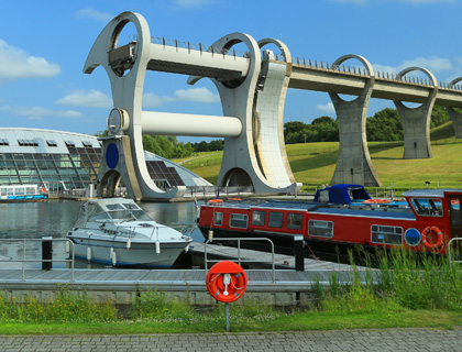 Opened in 2002, The Falkirk Wheel links The Forth & Clyde and Union Canals. It is the world's first and only rotating boat lift.